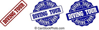 DIVING TOUR Scratched Stamp Seals