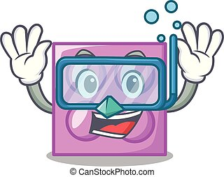 Diving toy brick character cartoon