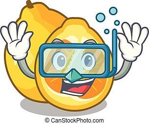 Diving ugli in the mascot fruit basket illustration vector