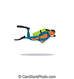 Diving vector sign - diver in blue overalls with green...