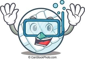 Diving volley ball character cartoon