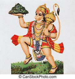divinité, god), (, singe, hanuman, hindou