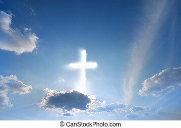 divino, fenômeno, em, a, céu