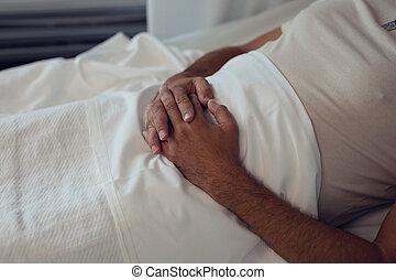 divisão, macho, mentindo, hospitalar, paciente, cama