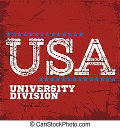 divisão, universidade, etiqueta, faculdade, varsity, esporte equipe