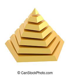 divisé, pyramide, segments