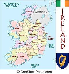 divisões, administrativo, irlanda