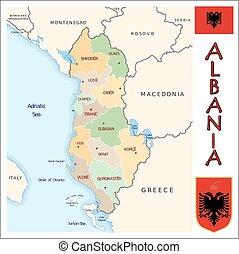 divisões, albânia, administrativo