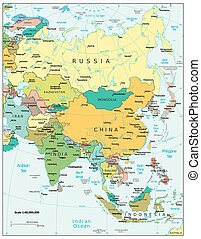 divisões, mapa, político, ásia, vista