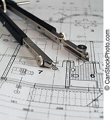diviseur, plan, architectural