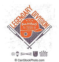 división, colegio, emblema, legendario, beisball