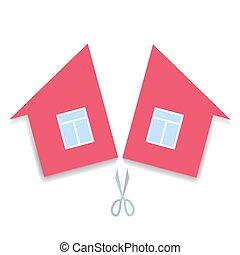 división, concepto, divorcio, propiedad