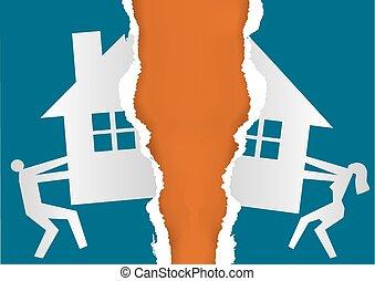 división, divorce., propiedad