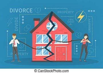 división, gente, divorcio, concept., arriba, interrupción, propiedad