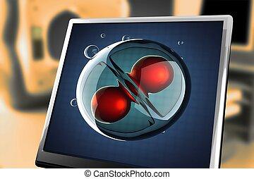 division, övervaka, bearbeta, illustration, cell, mikro
