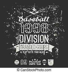 division, base-ball, collège, emblème, retro