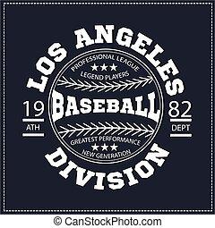 division, base-ball, t-shirt, los, collège, graphics.,...