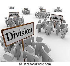 division, gens, ouvriers, départements, équipes, signes, ...