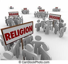 division, rassemblement, autour de, gens, religion, séparation, signes