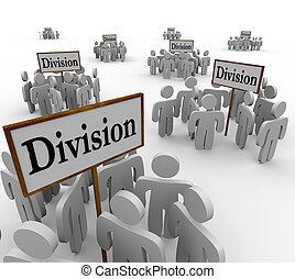 Division Signs Teams People Workers Divided Departments -...