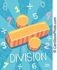 division, symbole, conception, math