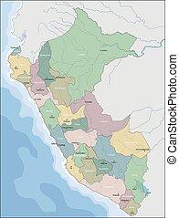 divisione, amministrativo, repubblica, perù