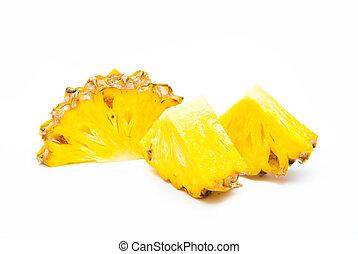 divisione, ananas, frutta fresca, bianco, fondo