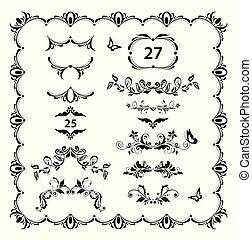 divisori, vendemmia, set., intestazioni, vettore, nero, retro, righello, disegno floreale, pagina bianca