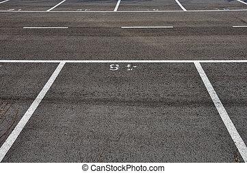 divisorio, asfalto, líneas, terreno, estacionamiento, ...