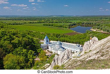 Divnogorsky Sacred Uspensky man's monastery and river Don