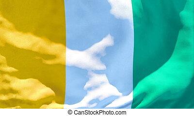 divoire cote, drapeau, de, flottements, national, vent