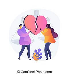 Divorce abstract concept vector illustration. Marriage ...