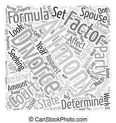 Divorce and Alimony Formula text background wordcloud concept