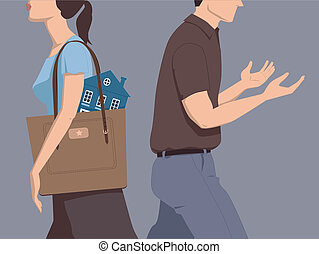 Divorce and division of assets - Man and woman walking away...