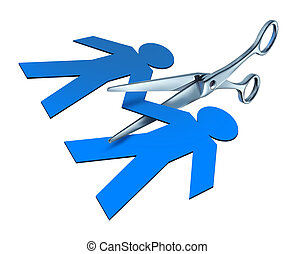 Divorce and separation in a breakup of marriage with scissors cutting paper people.