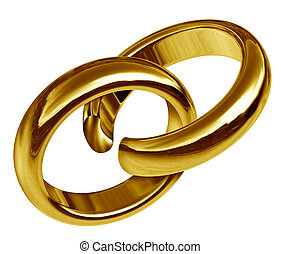 Divorce and separation symbol represented by two linked gold rings that has a break in the union showing the sad result of a broken relationship and break up during marriage or engagement.