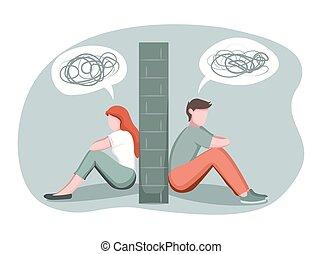 Divorce, breakup, separation concept. Depressed man and ...