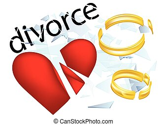 divorce. broken heard and two shattered rings