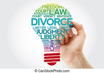 Divorce bulb word cloud collage with marker