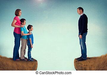 divorce concept family separation man woman and children...