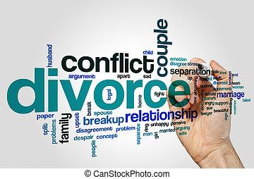 divorce, concept, mot, nuage