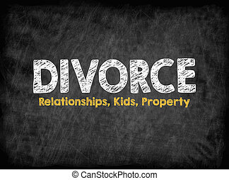 Divorce concept. Relationships Kids Property. Black board with texture, background