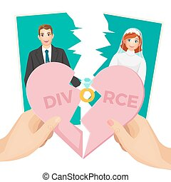 Divorce concept vector illustration of splitted heart and...