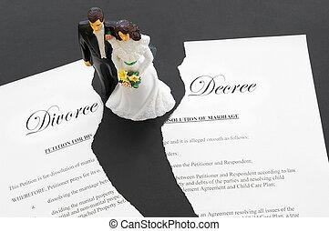 divorce, couple, déchiré, cake-topper, mariage, document