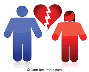 divorce couple illustration design over a white background...
