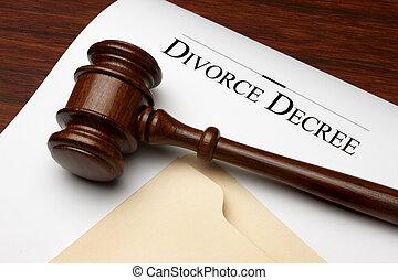 Divorce Decree - Divorce decree, gavel and folder shot on ...