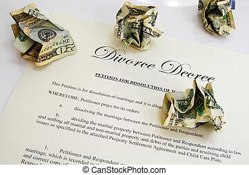 Divorce decree document and crumpled up money