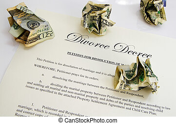 Divorce decree document and crumpled up money