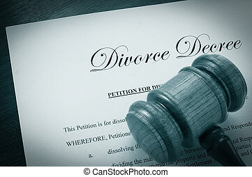 Divorce Decree document and legal gavel