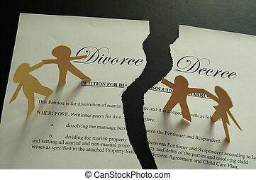 divorce decree document and paper family figures